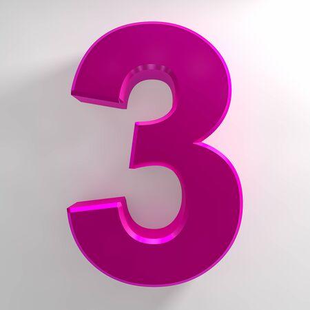 Number 3 pink color collection on white background illustration 3D rendering