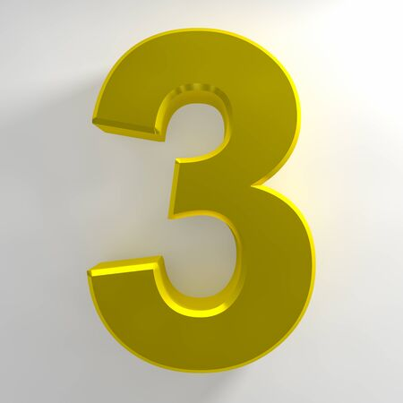 Number 3 yellow color collection on white background illustration 3D rendering 스톡 콘텐츠