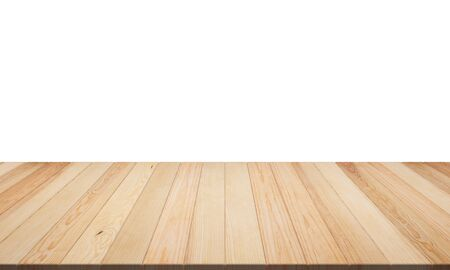 Empty top wooden table isolated on white background. Empty ready for your product display or montage. illustration 3D rendering Imagens