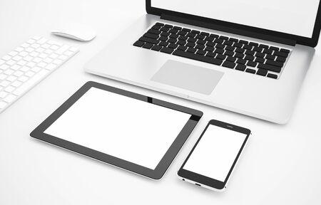Blank Smartphone, tablet, computer, laptop, tablet, keyboard, mouse on white background, Mock up, illustration 3D rendering Banque d'images