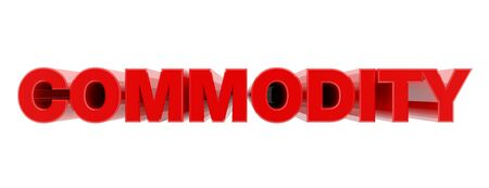 COMMODITY red word on white background illustration 3D rendering