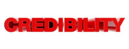 CREDIBILITY red word on white background illustration 3D rendering Banque d'images