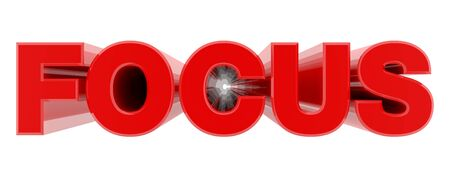 FOCUS red word on white background illustration 3D rendering