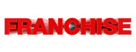 FRANCHISE red word on white background illustration 3D rendering