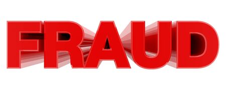 FRAUD red word on white background illustration 3D rendering