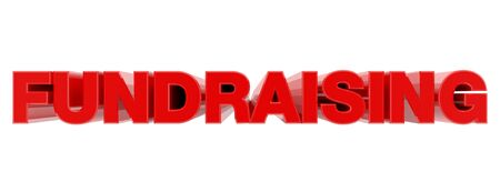 FUNDRAISING red word on white background illustration 3D rendering Banque d'images