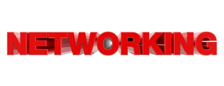 NETWORKING red word on white background illustration 3D rendering