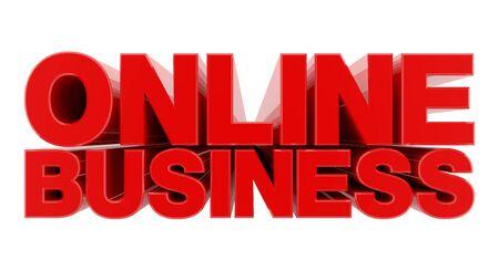 ONLINE BUSINESS red word on white background illustration 3D rendering Banque d'images