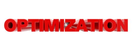 OPTIMIZATION red word on white background illustration 3D rendering