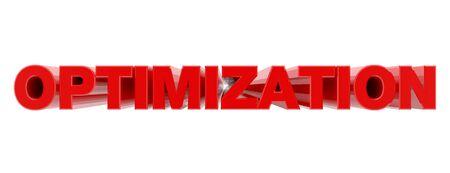 OPTIMIZATION red word on white background illustration 3D rendering
