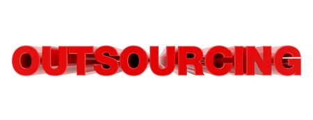 OUTSOURCING red word on white background illustration 3D rendering