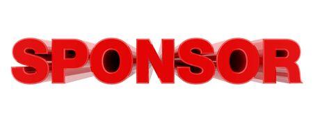SPONSOR red word on white background illustration 3D rendering Banque d'images