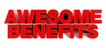 AWESOME BENEFITS red word on white background illustration 3D rendering Foto de archivo
