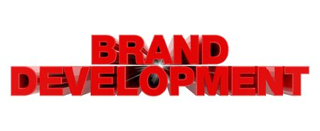BRAND DEVELOPMENT red word on white background illustration 3D rendering