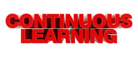 CONTINUOUS LEARNING red word on white background illustration 3D rendering