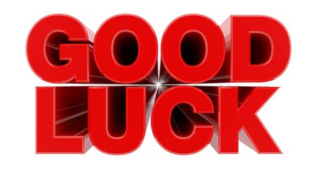GOOD LUCK red word on white background illustration 3D rendering