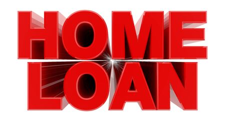 HOME LOAN red word on white background illustration 3D rendering Banque d'images