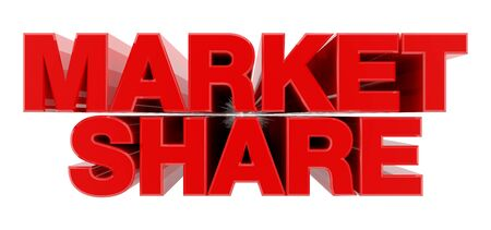 MARKET SHARE red word on white background illustration 3D rendering Stok Fotoğraf