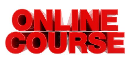 ONLINE COURSE red word on white background illustration 3D rendering Banque d'images