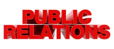 PUBLIC RELATIONS red word on white background illustration 3D rendering Stock Photo