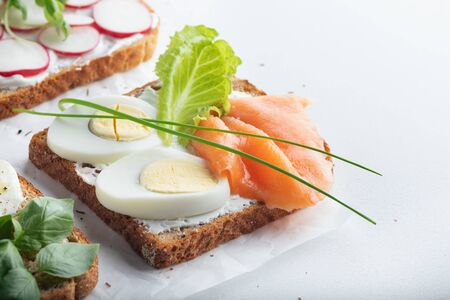 sandwiches with mascarpone cheese, eggs, salmon, radish, caprese salad on a white background. Close up. Copy space