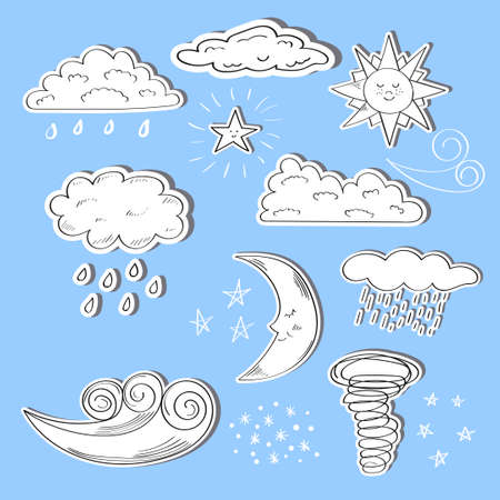 estrella caricatura: Conjunto de iconos del tiempo del doodle. Sol, luna, estrellas, nubes y viento aisladas sobre fondo azul.