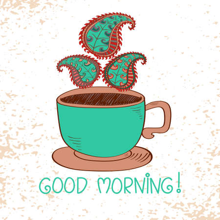bright color: Morning cup of hot coffee with stylized Paisley steam. Bright vector illustration.