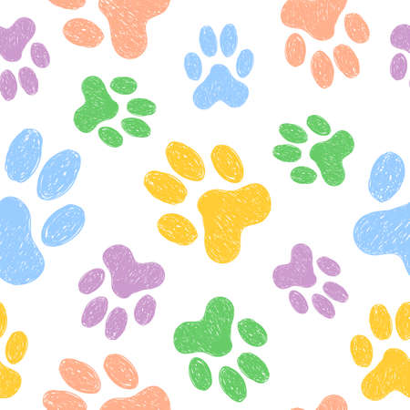 Seamless pattern with doodle dog paws. Colorful animal print. Vector background. Stock Illustratie