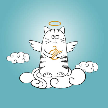 Cartoon angel cat on the cloud. Doodle vector illustration. Illustration