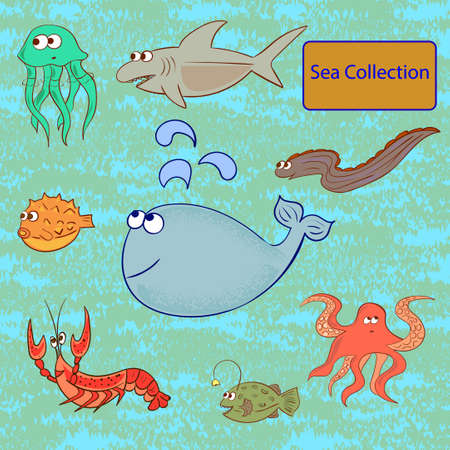 moray: Set of marine animals. Sea collection. illustration.