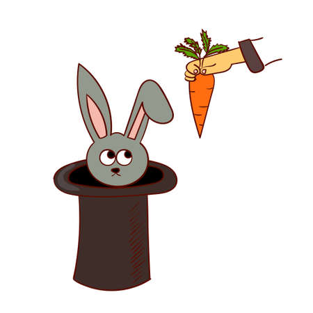 stovepipe hat: Cartoon rabbit in the hat trick and a hand with a carrot.