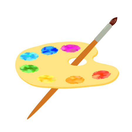 Artist's palette and brush isolated on white background.