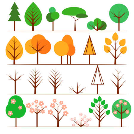 fall leaf: Collection of flat tree icons in different seasons Illustration