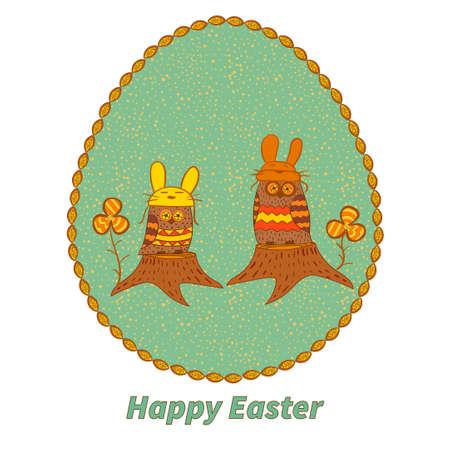 stumps: Easter card. Two owls on stumps. Illustration