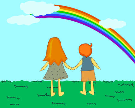 Children looking at rainbow. Vector illustration.