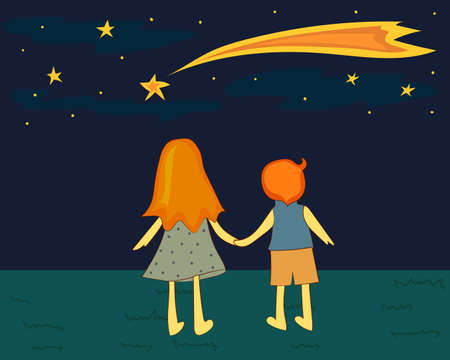 Children looking at a falling star. Vector illustration. Stock Illustratie
