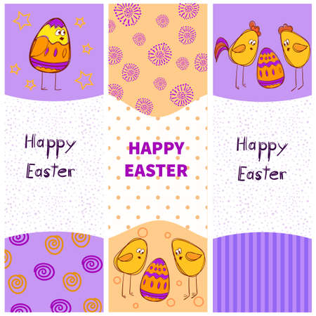 vector image: Easter vector banners with doodle eggs and chickens