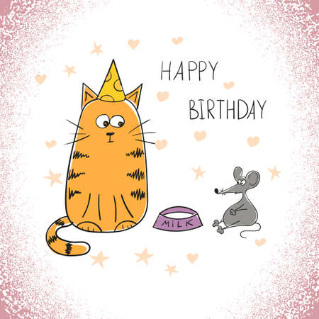 frienship: Birthday greeting card with doodle cat and mouse.