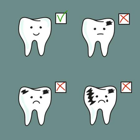 dientes sanos: Conjunto de dientes sanos y malas. ilustraci�n vectorial Vectores