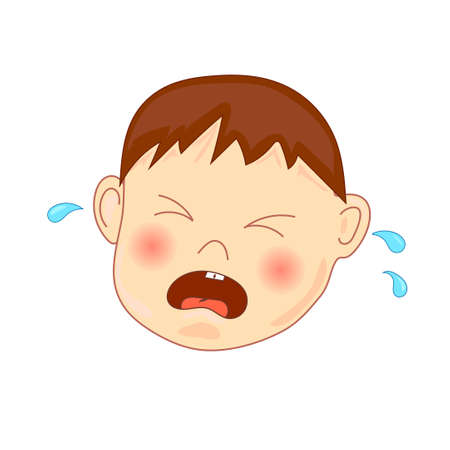 little child: Crying baby, vector illustration, isolated on white.