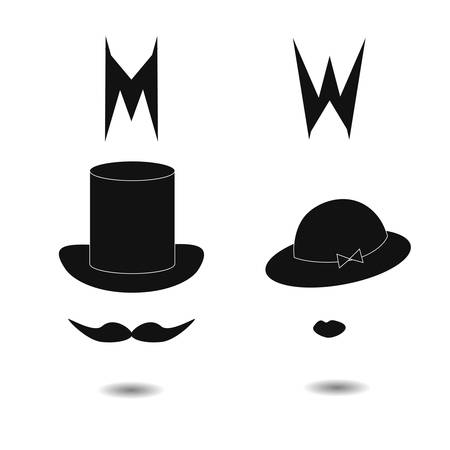 stovepipe hat: Restroom signs. Extraordinary vector toilet icon.