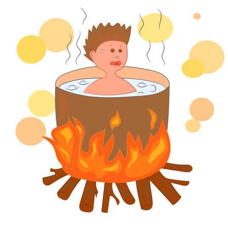 sinner: Cartoon hell, boiled sinner.