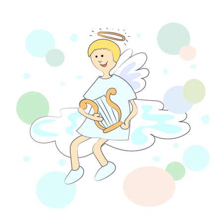 cartoon cloud: Angel with harp on a cloud. Illustration