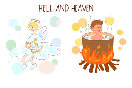 heaven: Heaven and hell cartoon vector illustration.