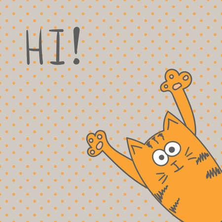 Gato divertido, hola tarjeta de felicitación.