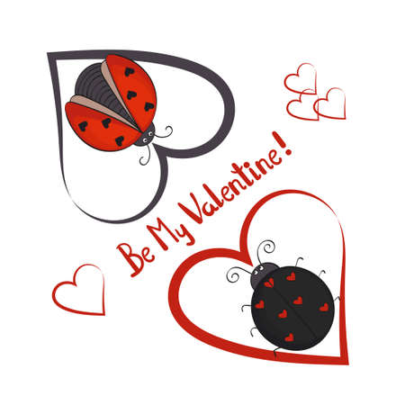 lovely couple: Be my Valentine card template. Couple of cute ladybugs with hearts. illustration Illustration