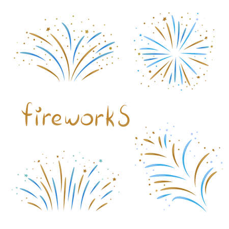 Set of fireworks isolated on white background. 免版税图像 - 51569456
