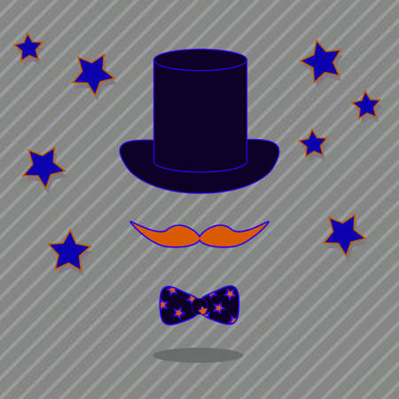 Gentleman icon, mustache, hat and bow-tie on stripped background.