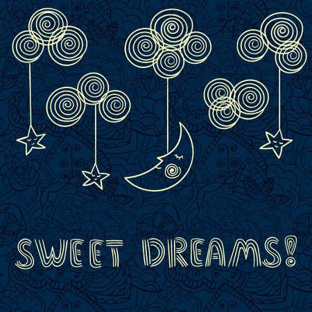 dark backgrounds: Sleeping moon and stars on the night sky.