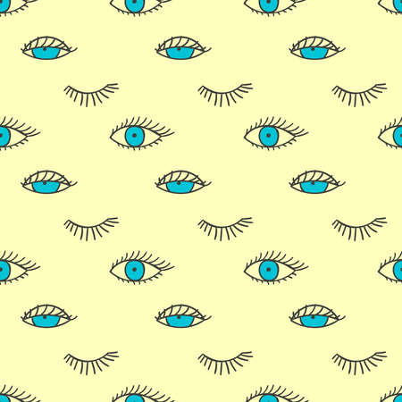 lashes: Seamless pattern with eyes and lashes.